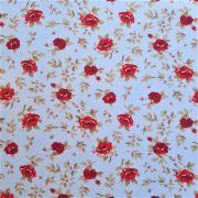 Folha de Eva Com Tecido Floral Vermelho