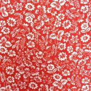 Folha de EVA com Tecido Floral Vermelho e Branco