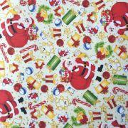 Folha de Eva Com Tecido Papai Noel e presentes de Natal