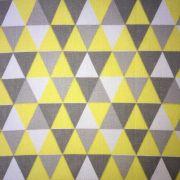 Folha de Eva Com Tecido Triângulos Cinza E Amarelo 40x30 cm