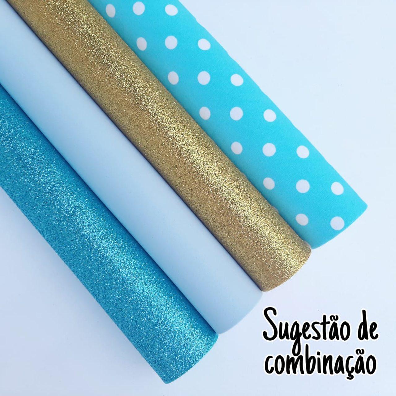 Folha de Eva Com Tecido Azul com Bolas Brancas 40x30 cm