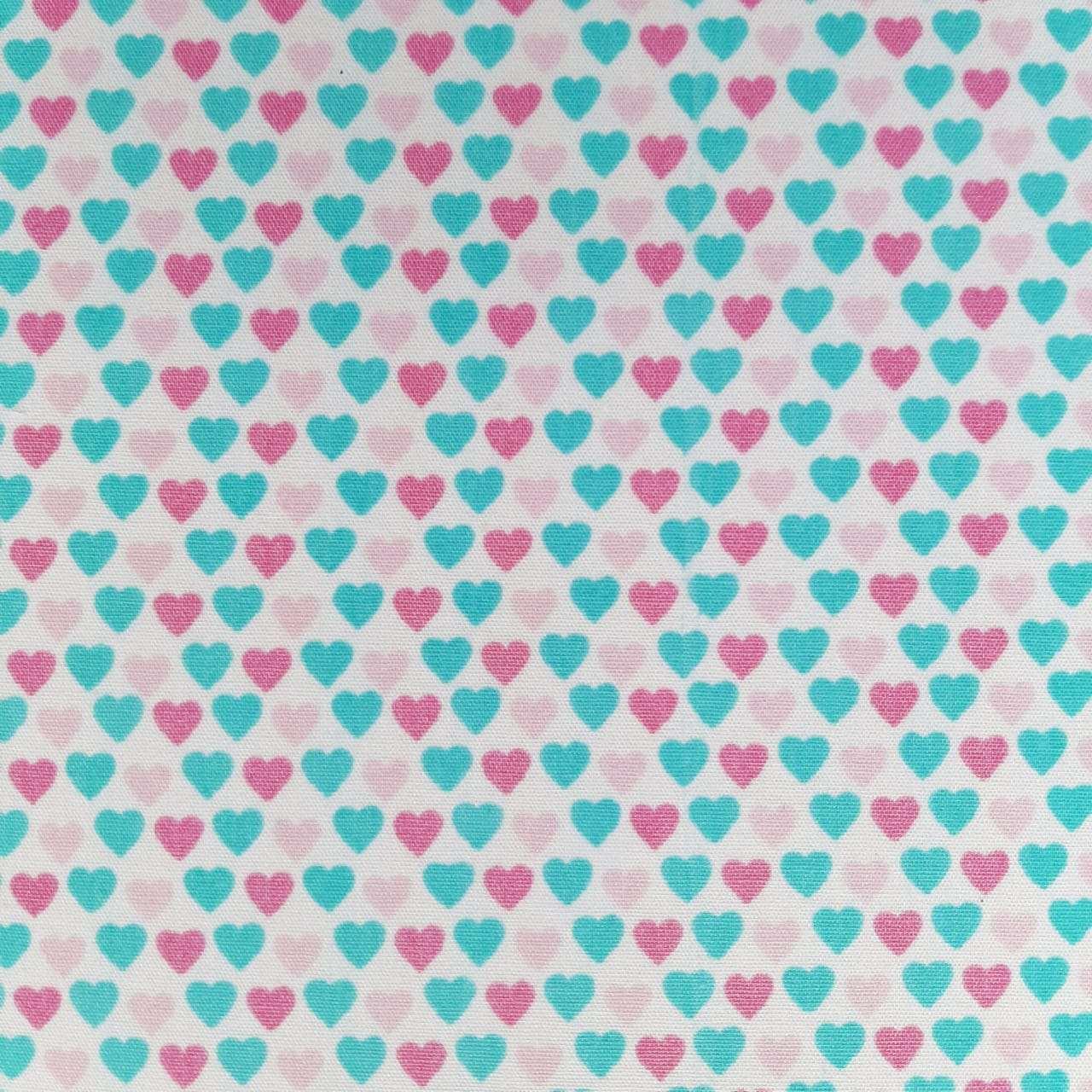 Folha de Eva Com Tecido Corações Azul e Rosa