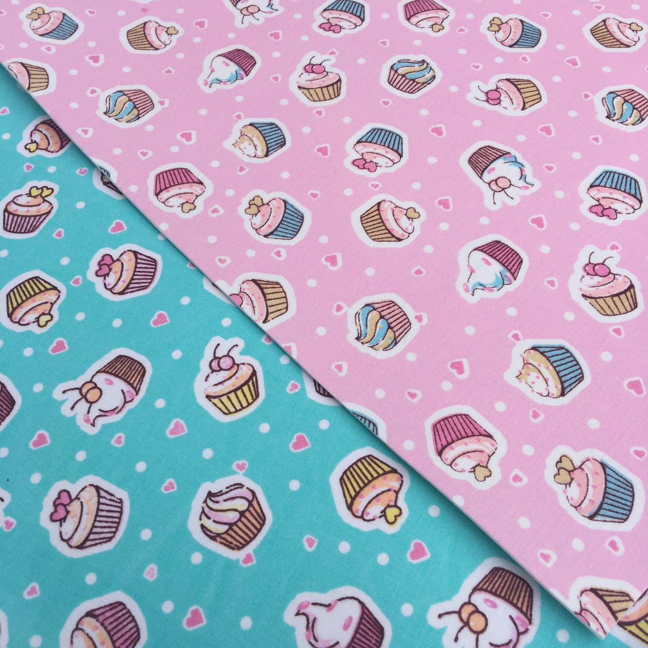 Folha de Eva Com Tecido Cupcake Candy 40x30 cm