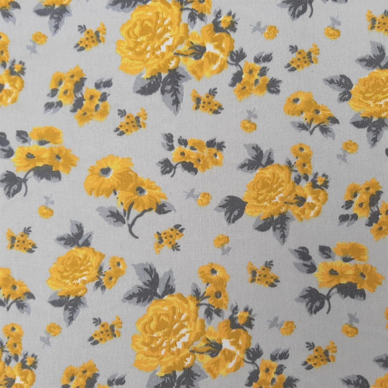 Folha de Eva Com Tecido Floral Amarelo e Cinza 40x30 cm