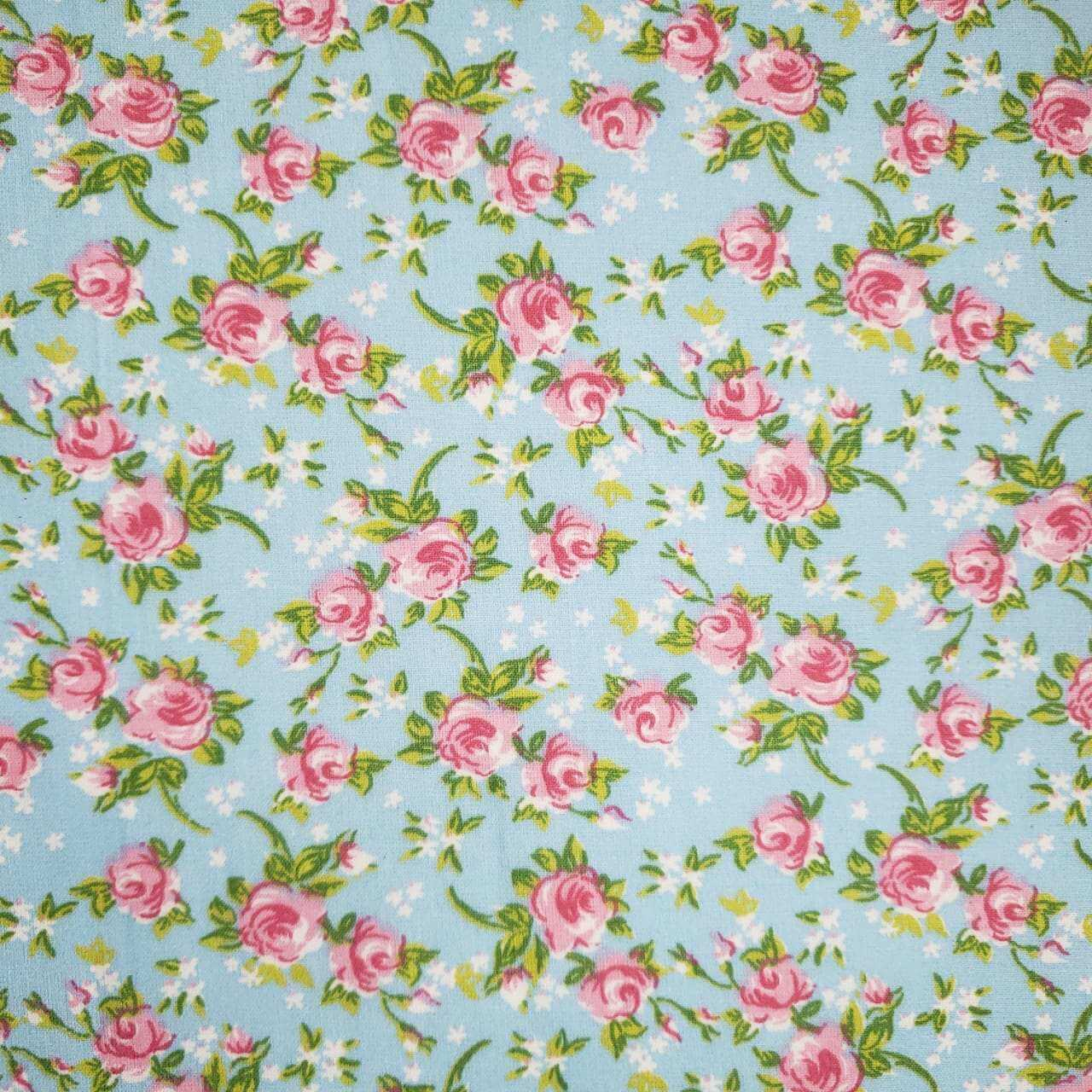 Folha de EVA com Tecido Floral Azul