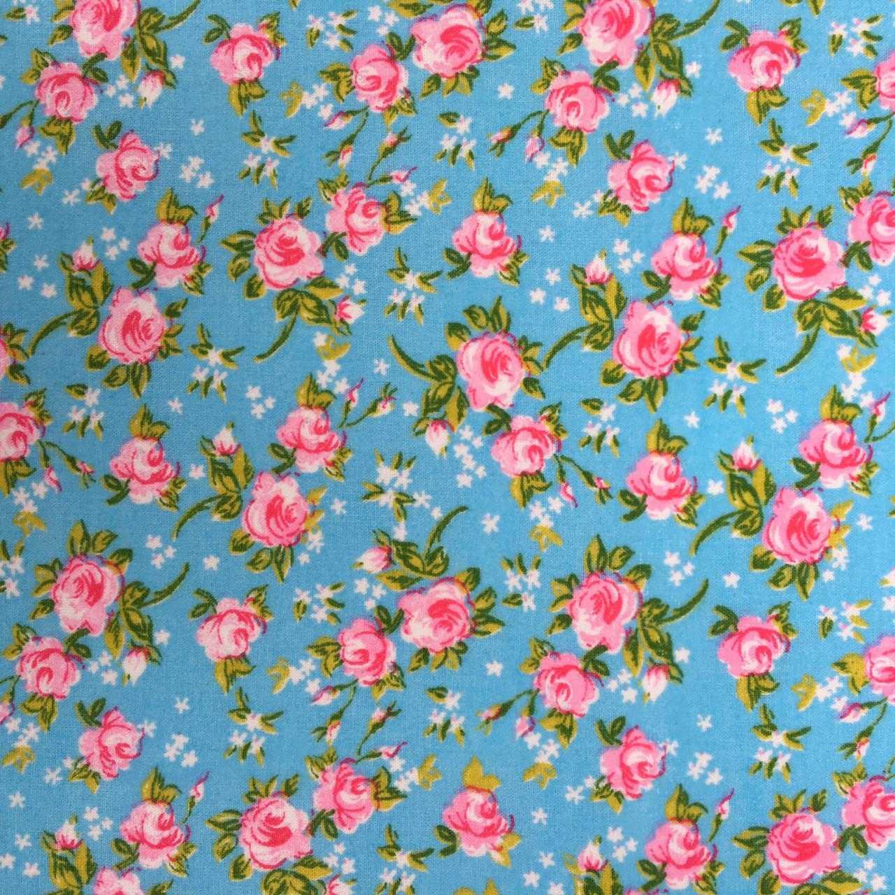 Folha de Eva Com Tecido Floral Azul 40x30 cm