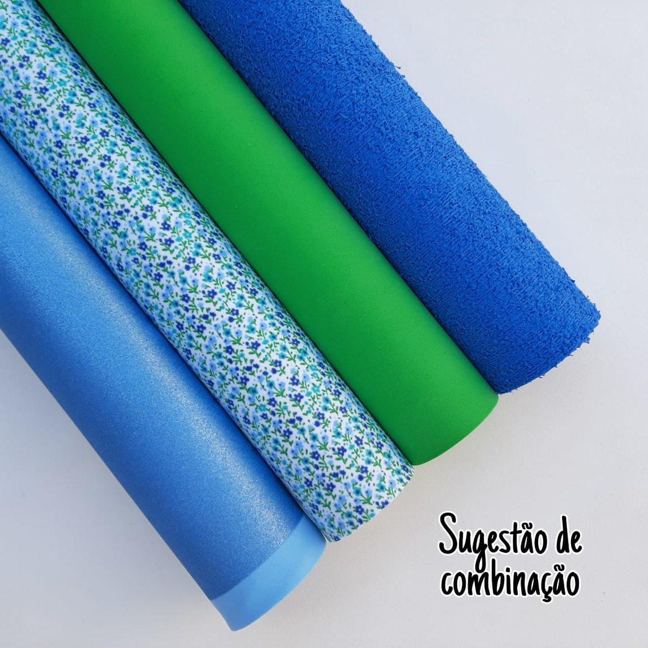 Folha de Eva Com Tecido Floral Mini Azul 40x30 cm
