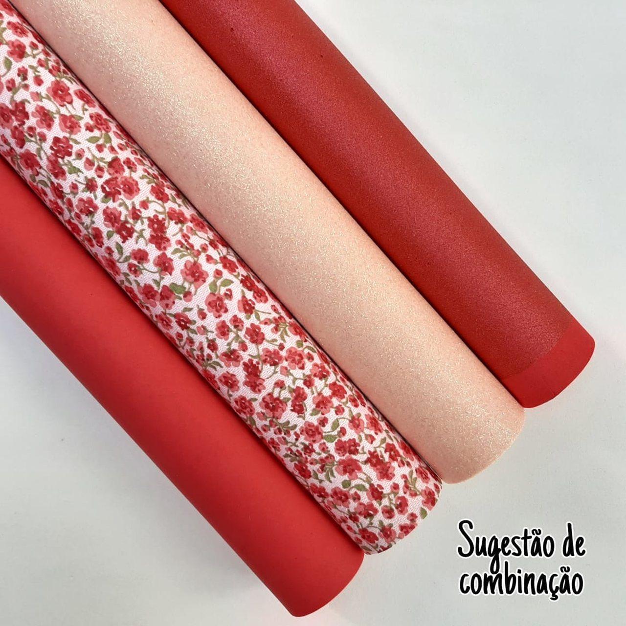Folha de Eva Com Tecido Floral Mini Vermelho & Salmão 40x30 cm
