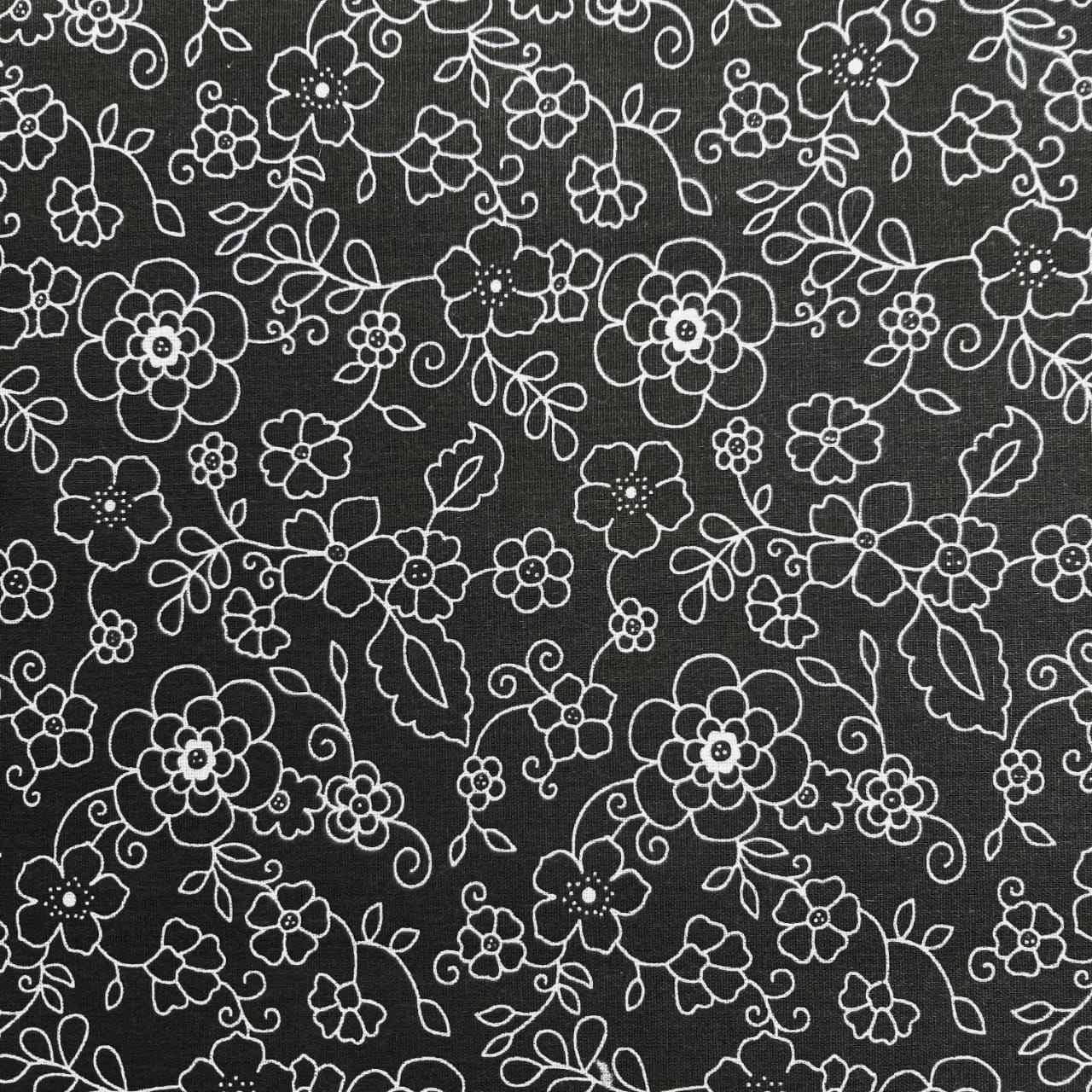 Folha de Eva Com Tecido Floral Preto e Branco 40x30 cm