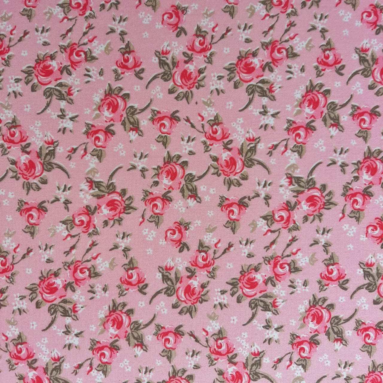Folha de Eva Com Tecido Floral Rosa Bebê com Rosa