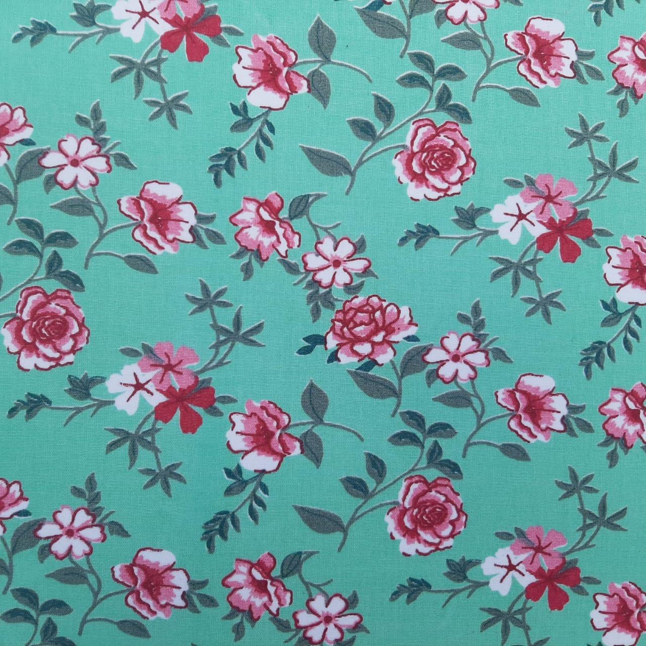 Folha de Eva Com Tecido Floral Verde Água Premium 40x30 cm