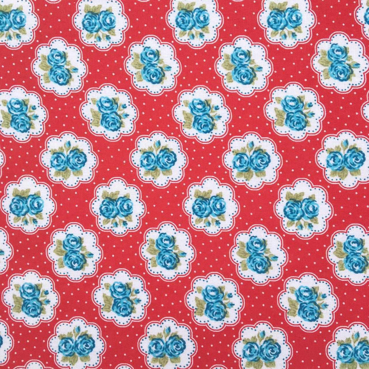 Folha de Eva Com Tecido Floral Vermelho e Azul