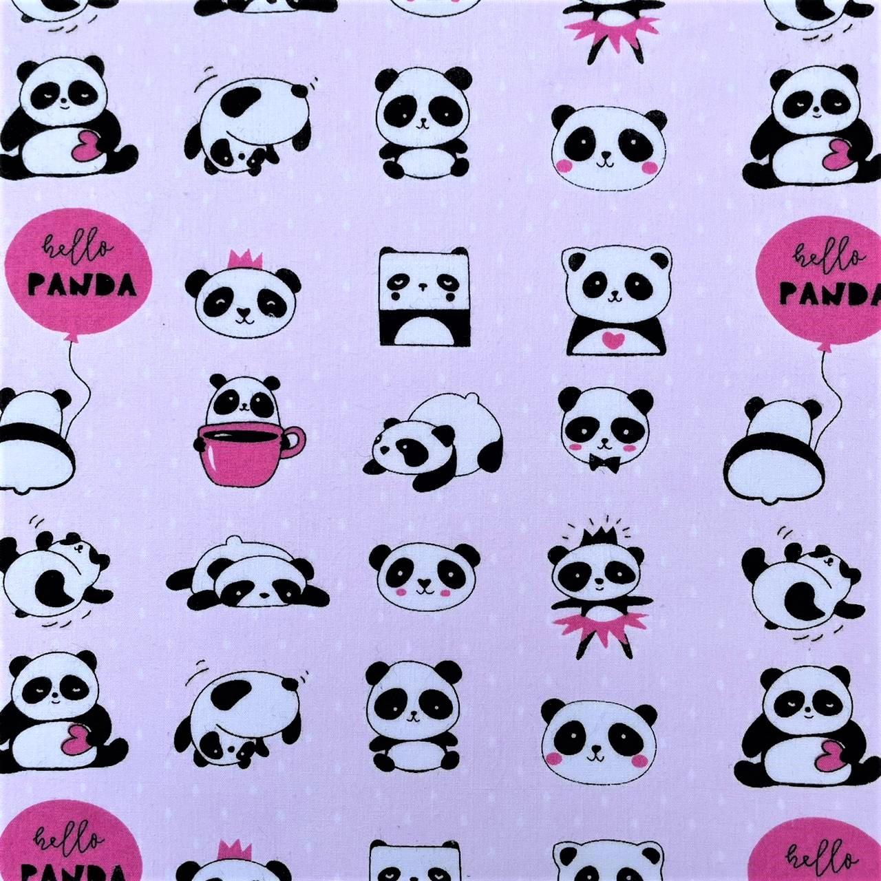 Folha de Eva Com Tecido Hello Panda 40x30 cm