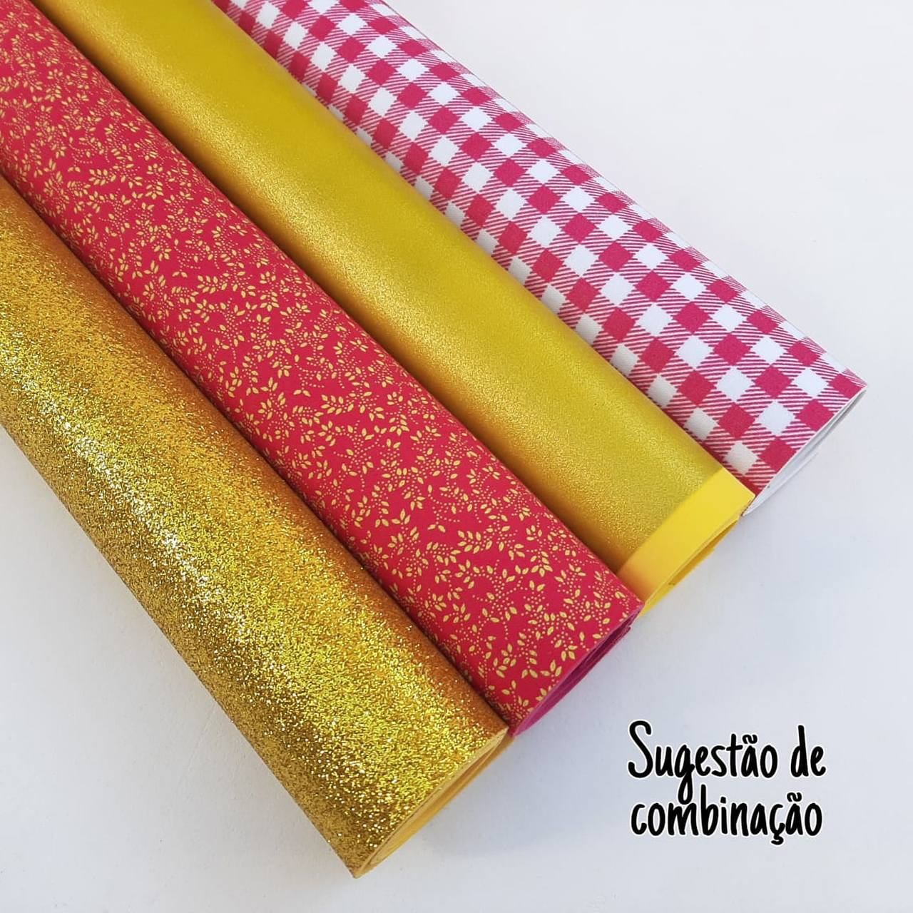 Folha de Eva Com Tecido Mini Folhas Pink 40x30 cm