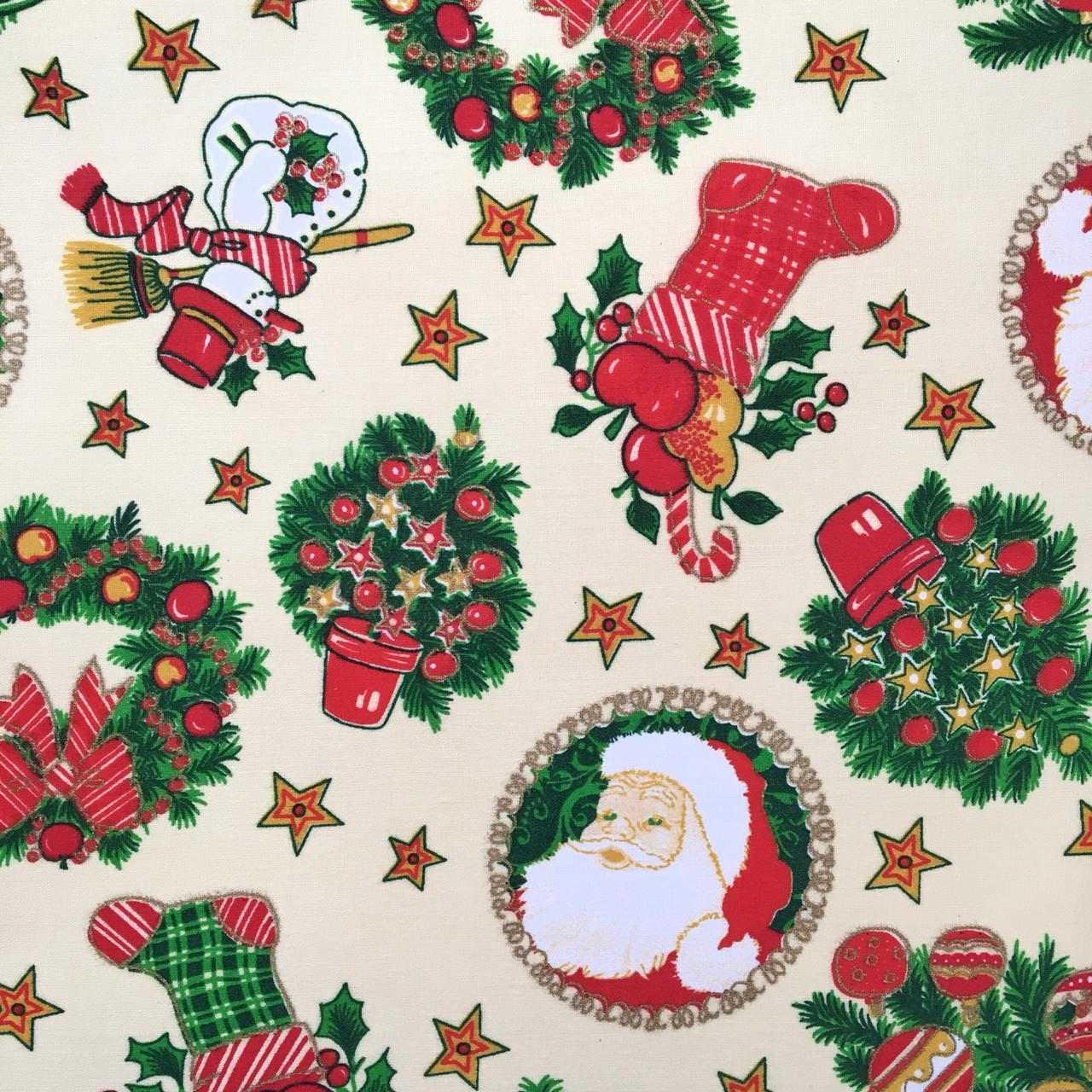 Folha de Eva Com Tecido Natal Bege Clássico