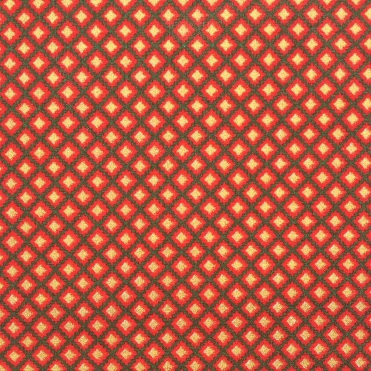 Folha de Eva Com Tecido Natal Vermelho Com Dourado Geométrico