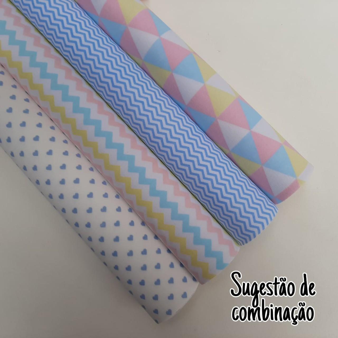 Folha de Eva Com Tecido Triângulos Candy Color 40x30 cm