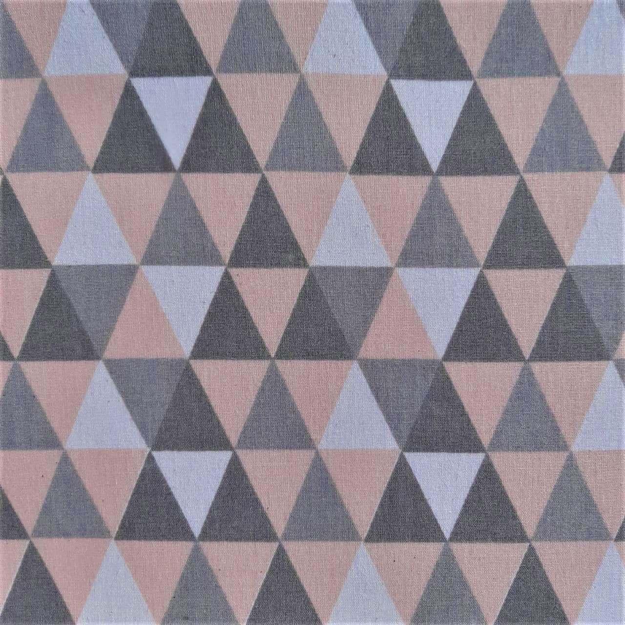 Folha de Eva Com Tecido Triângulos Cinza e Rosa 40x30 cm