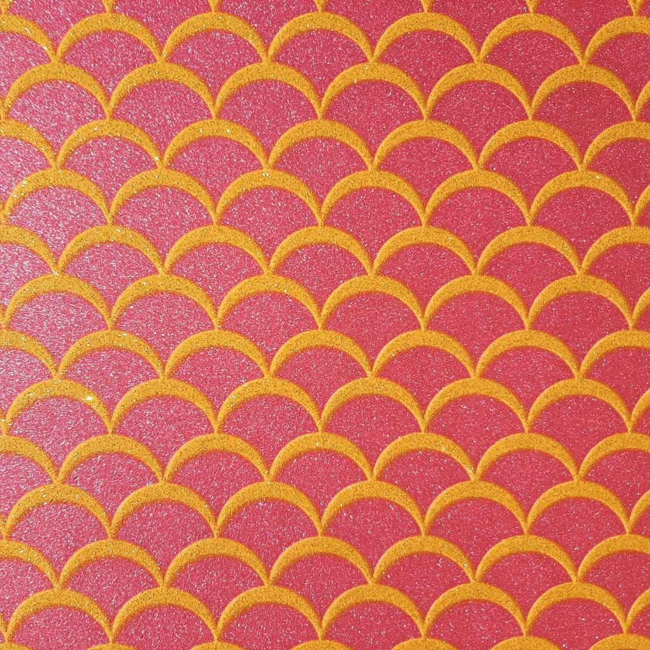 Folha de Eva Estampado Cauda de Sereia com Glitter Dourado