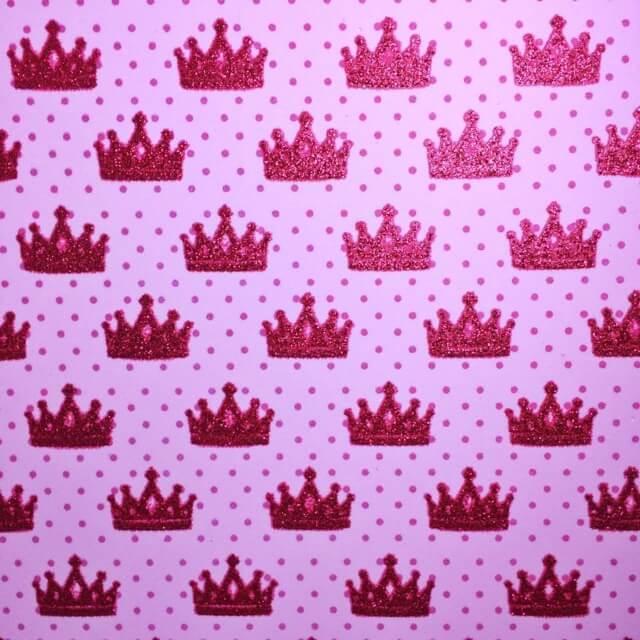 Folha de Eva Estampado Coroas Com Glitter