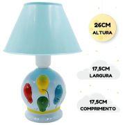 Abajur Infantil Luminária Quarto Bebê Criança Balões Azul