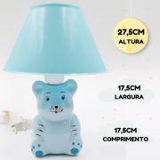 Abajur Infantil Luminária Quarto Bebê Criança Ursinho Azul