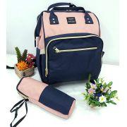 Bolsa Mochila Himawari Com Bolsos Térmicos Feminina Casual Mulheres Moda Tecido Impermeável Azul e Rosa