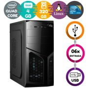 Computador Intel Quad Core 4GB HD 320GB Linux