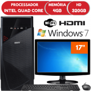 """Computador Intel Quad Core 4GB HD 320GB 17"""" Win 7 Teclado"""