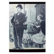 Kit 3 Quadros Decorativos Barber Shop Audrey Chiclete Charlie Chaplin 42x28cm Cada
