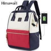 Mochila Feminina Himawari Bolsa Casual Mulheres Moda Branca, Azul Marinho e Vermelha Resistente à Água (Não à Prova D'água) Com Entrada USB