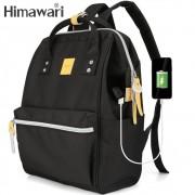 Mochila Feminina Himawari Bolsa Casual Mulheres Moda Preta Resistente à Água (Não à Prova D'água) Com Entrada USB