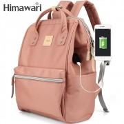 Mochila Feminina Himawari Bolsa Casual Mulheres Moda Rosa Nude Resistente à Água (Não à Prova D'água) Com Entrada USB