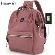 Mochila Feminina Himawari Bolsa Casual Mulheres Moda Rose Resistente à Água (Não à Prova D'água) Com Entrada USB