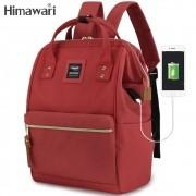 Mochila Feminina Himawari Bolsa Casual Mulheres Moda Vermelha Resistente à Água (Não à Prova D'água) Com Entrada USB