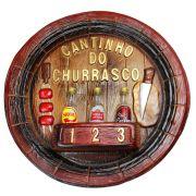 Placa Cantinho do Churrasco Pingometro Cachaça 45x45cm 150ml
