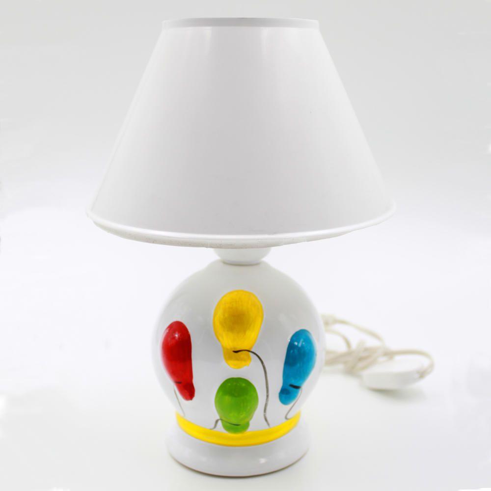 Abajur Infantil Luminária Quarto Bebê Criança Balões Branco