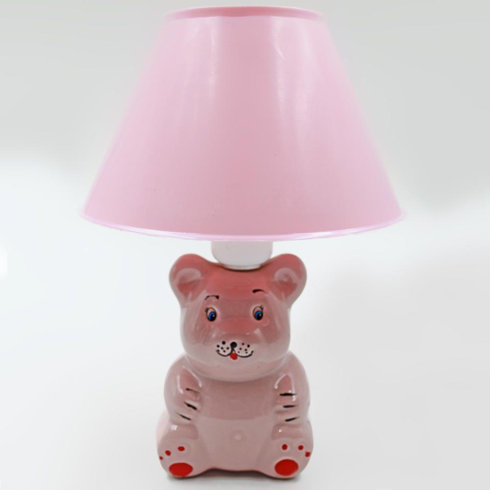 Abajur Infantil Luminária Quarto Bebê Criança Ursinho Rosa