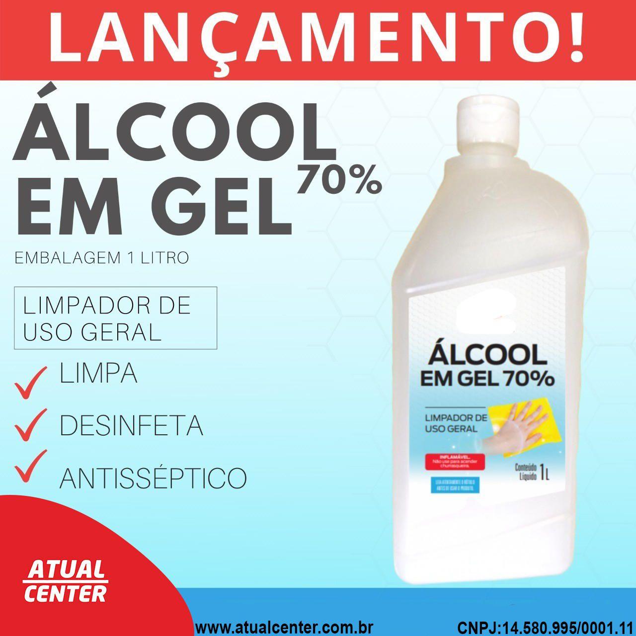 Alcool em Gel 70% Higienizador de Mãos Embalagem com 1 Litro