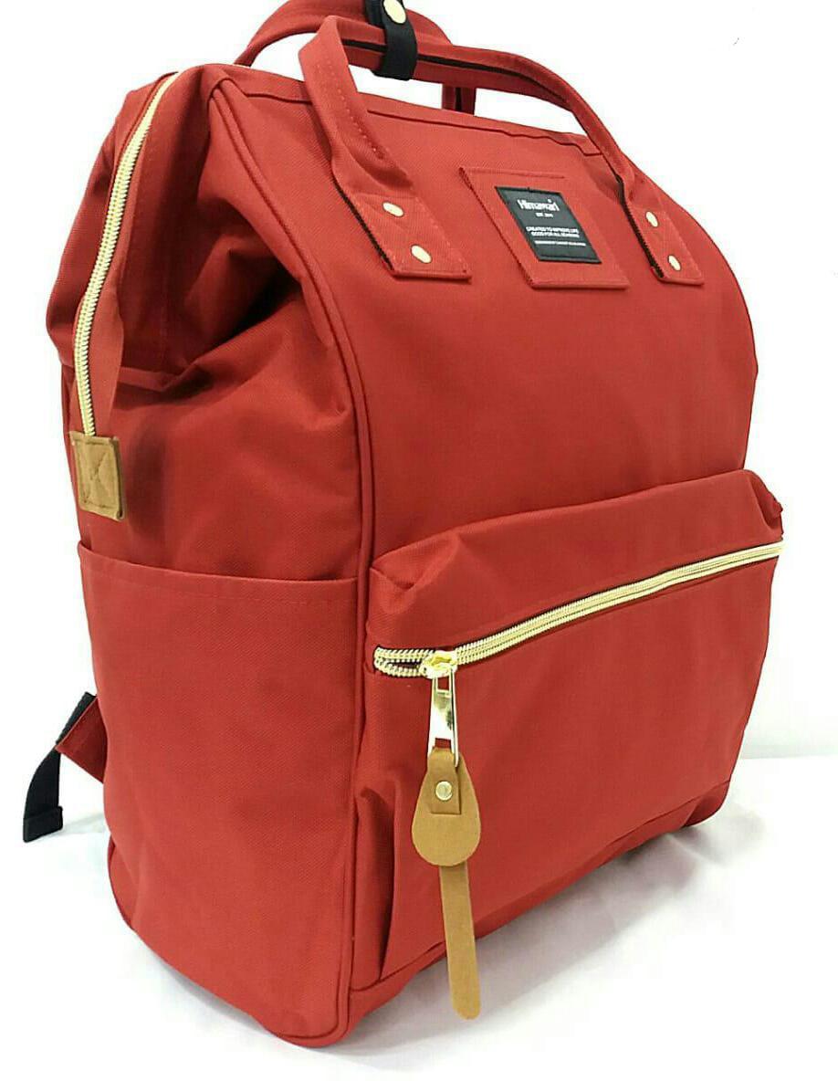 Bolsa Mochila Feminina USB Casual Moda Impermeável Vermelha