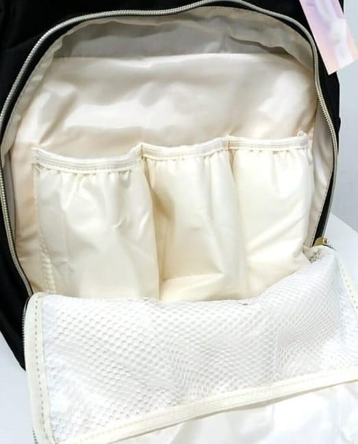 Bolsa Mochila Himawari Com Bolsos Térmicos Feminina Casual Mulheres Moda Tecido Impermeável Vermelha e Preta com Bolinhas Brancas