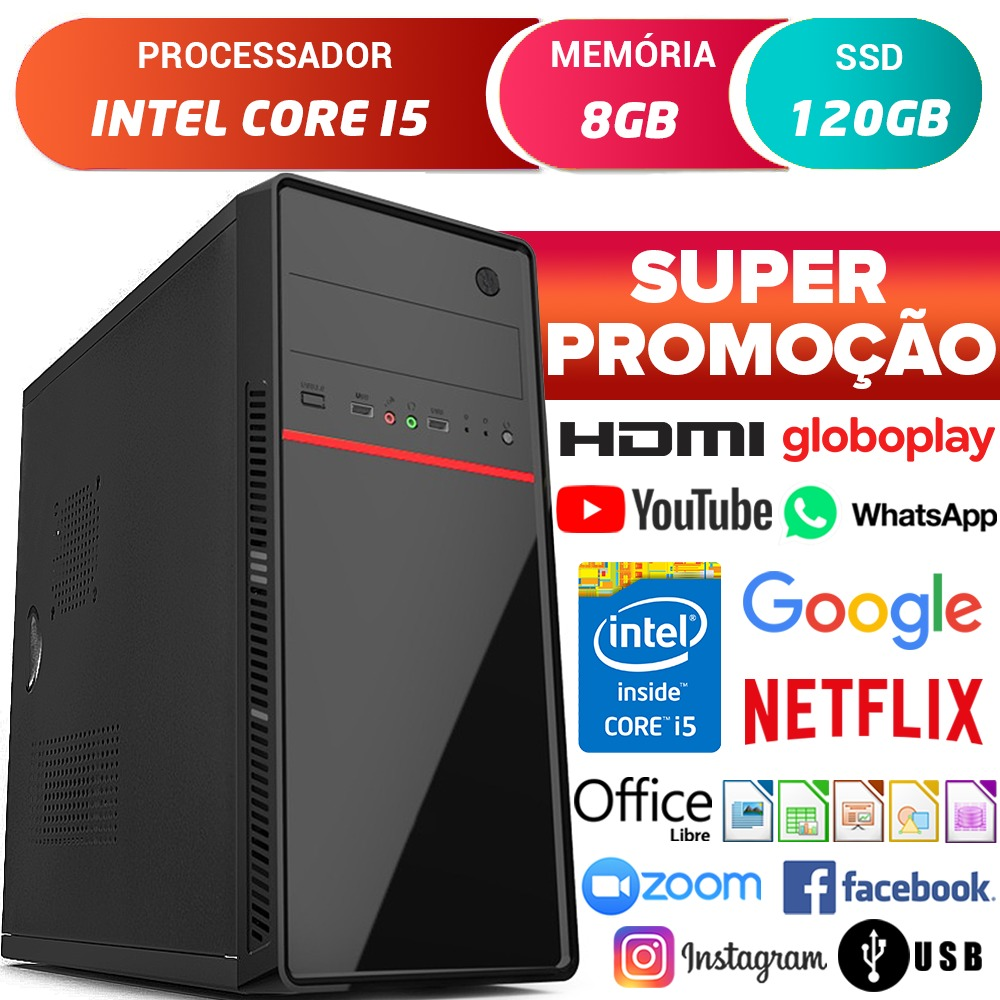 Computador Completo Pc Cpu Intel Core i5 Com Hdmi 8GB SSD 120GB Desktop