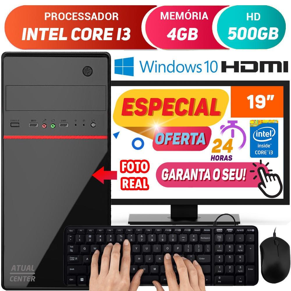 """Computador Completo Pc Cpu Monitor 19"""" Intel Core i3 Turbo 4GB HD 500GB Hdmi Windows 10 Teclado e Mouse Desktop"""