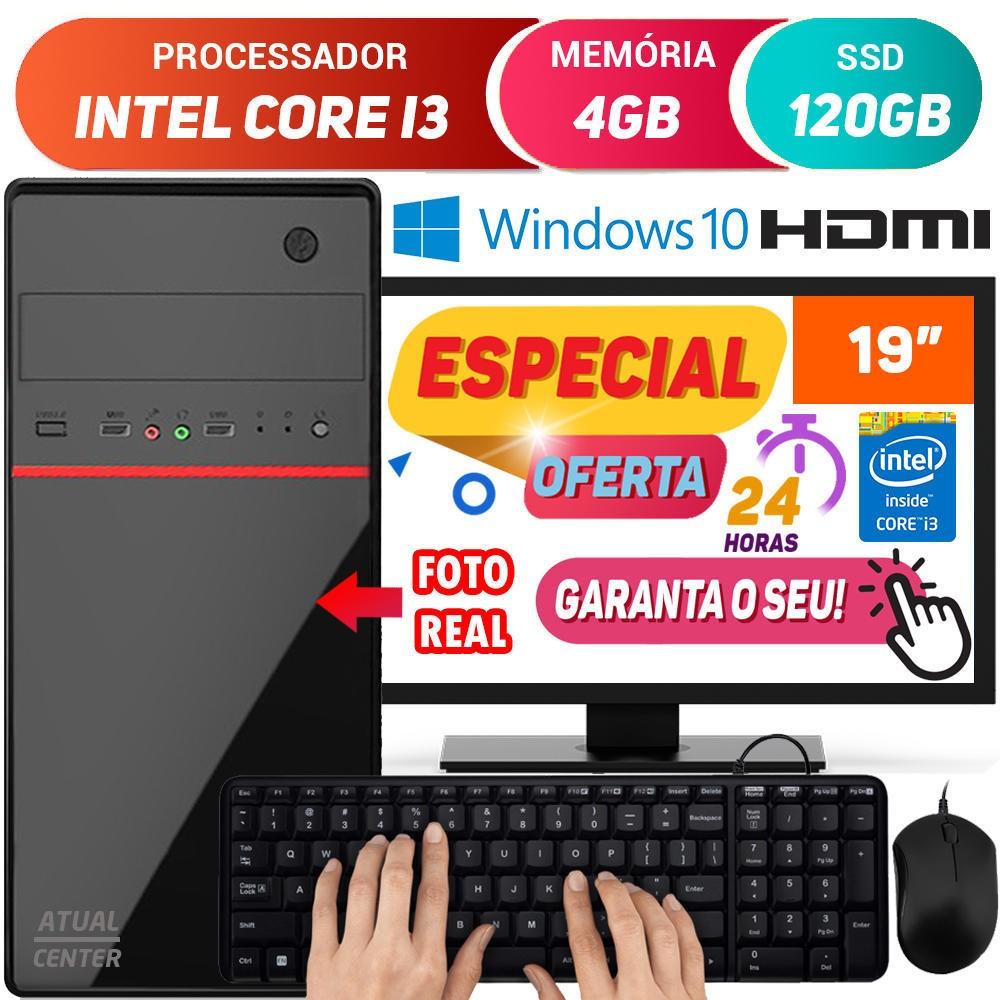 """Computador Completo Pc Cpu Monitor 19"""" Intel Core i3 Turbo 4GB SSD 120GB Hdmi Windows 10 Teclado e Mouse Desktop"""