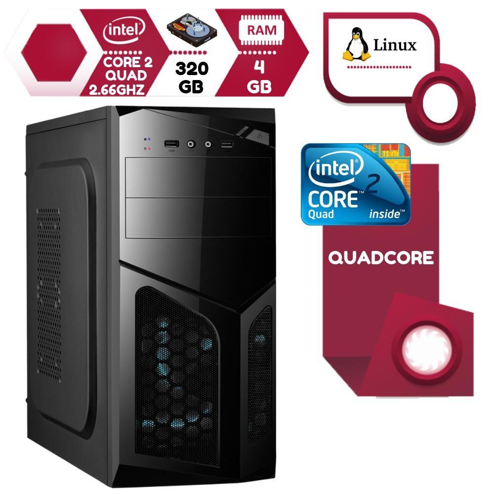 Computador Desktop Intel Core 2 Quad 2.6Ghz 4GB HD 320GB Linux