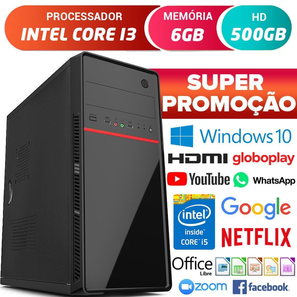 Computador Pc Cpu Intel Core i3 Com Hdmi 6GB HD 500GB Windows 10 Pro Desktop
