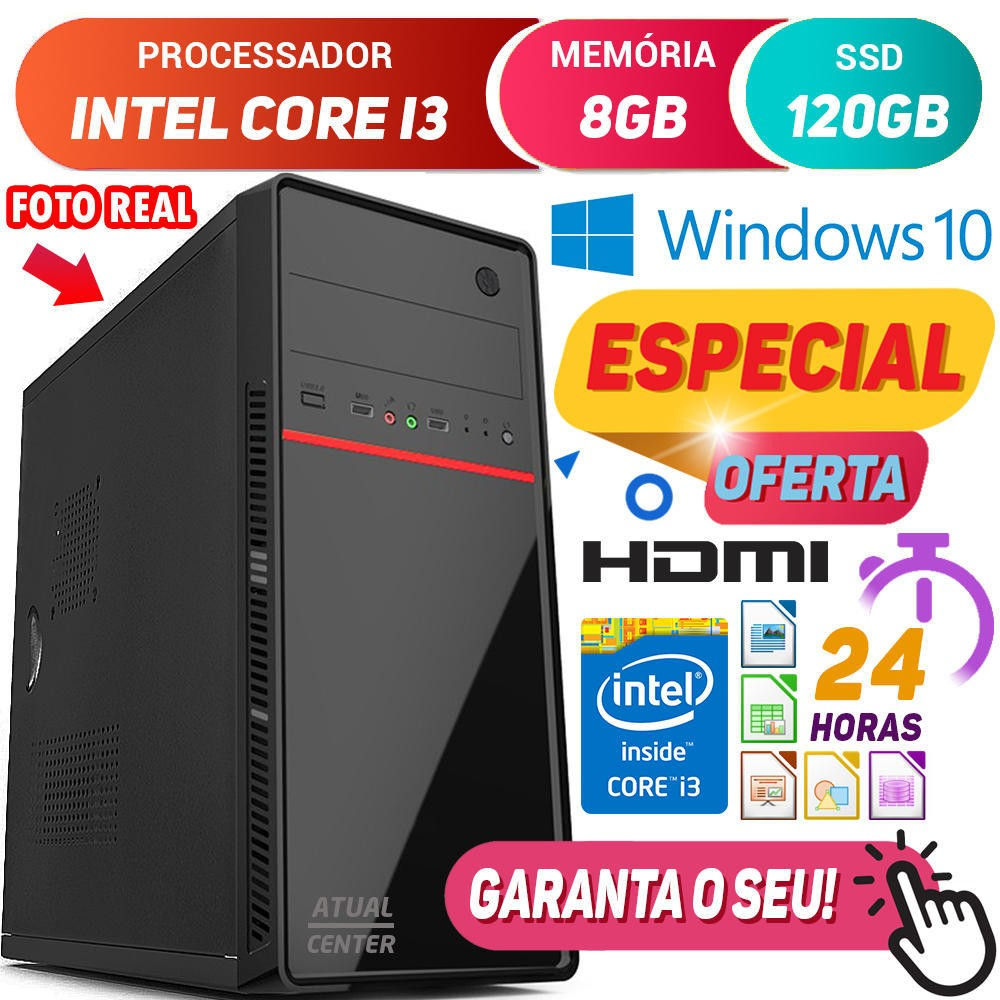 Computador Pc Cpu Intel Core i3 Turbo 8GB SSD 120GB Hdmi Windows 10 Desktop