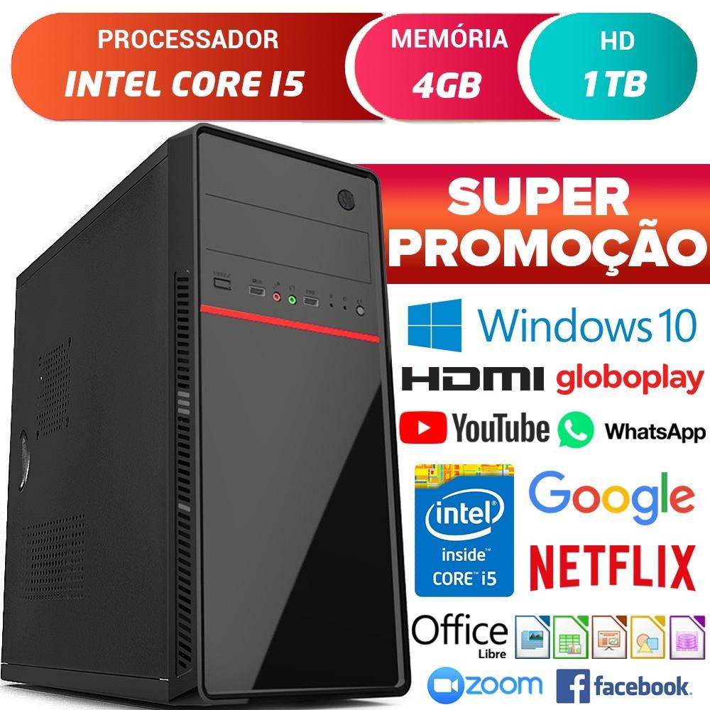 Computador Pc Cpu Intel Core i5 Com Hdmi 4GB HD 1TB Windows 10 Desktop