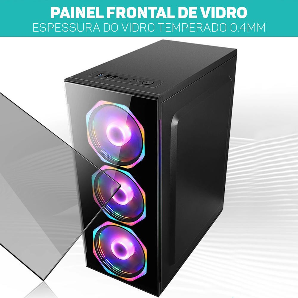 Computador Pc Gamer Intel Core i3 (AMD Radeon RX 550 4GB) 4GB HD 2TB SSD 240GB Windows 10 Desktop Cpu