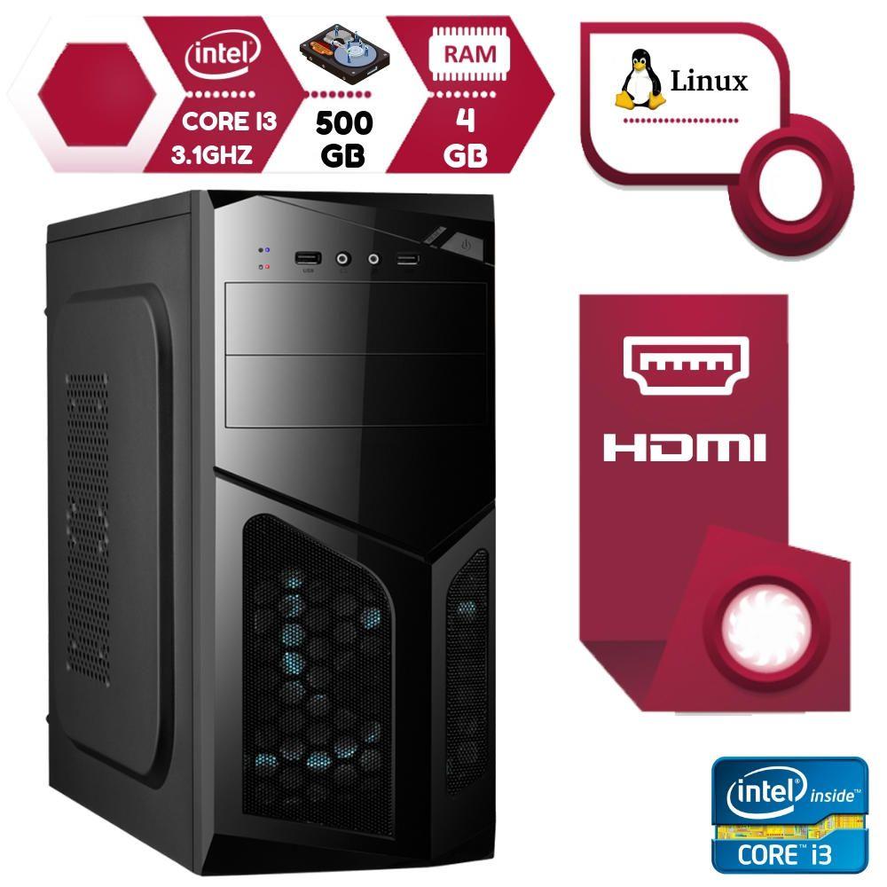 Computador Pc Intel Core I3 3.1Ghz 4GB HD 500GB Hdmi Linux